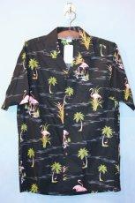 画像2: Pacific legend Aloha Shirts Flamingo Allover Black パシフィック レジェンド アロハ シャツ  (2)