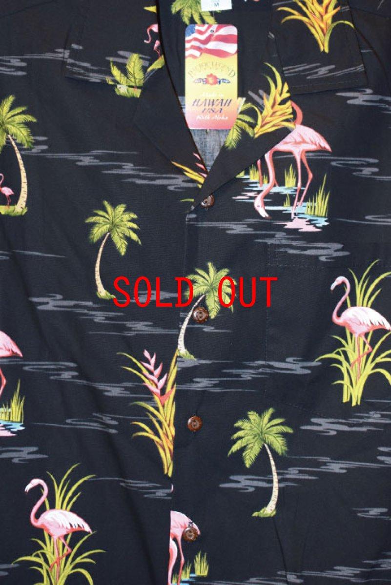 画像1: Pacific legend Aloha Shirts Flamingo Allover Black パシフィック レジェンド アロハ シャツ  (1)