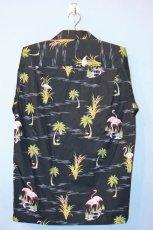 画像3: Pacific legend Aloha Shirts Flamingo Allover Black パシフィック レジェンド アロハ シャツ  (3)