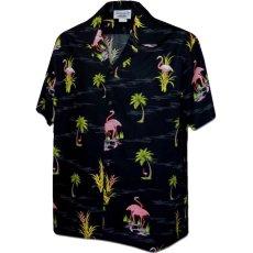 画像4: Pacific legend Aloha Shirts Flamingo Allover Black パシフィック レジェンド アロハ シャツ  (4)