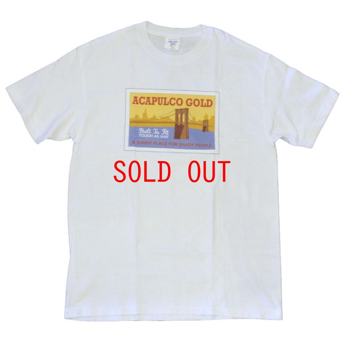 画像1: Acapulco Gold (アカプルコゴールド)Brooklyn Bridge S/S Tee White Black Tシャツ ブルックリン ブリッジ post card (1)
