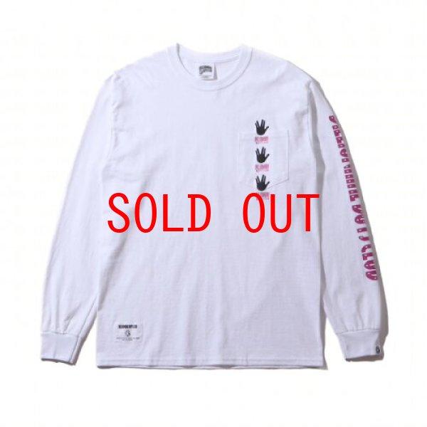 画像1: Billionaire Boys Club (ビリオネアボーイズクラブ)Hand sign Pocket L/S Tee White ハンド サイン ポケット Long Sleeve Tシャツ (1)