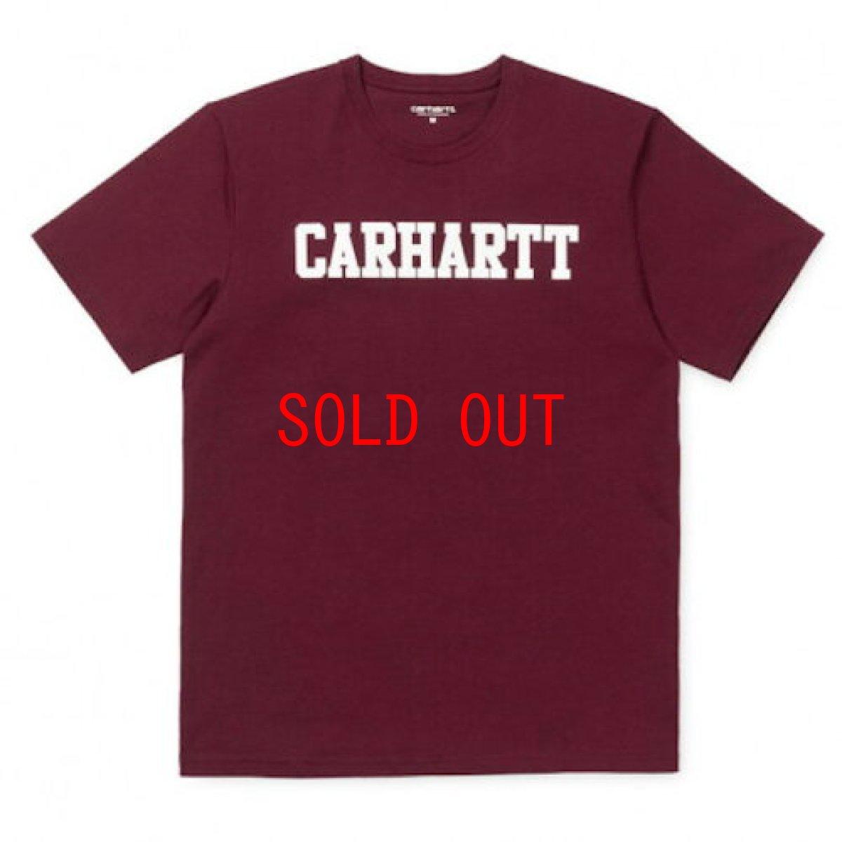 画像1: Carhartt WIP(カーハート ワークインプログレス) College Logo S/S Tee cranberry. カレッジ ロゴ 半袖 Tシャツ (1)