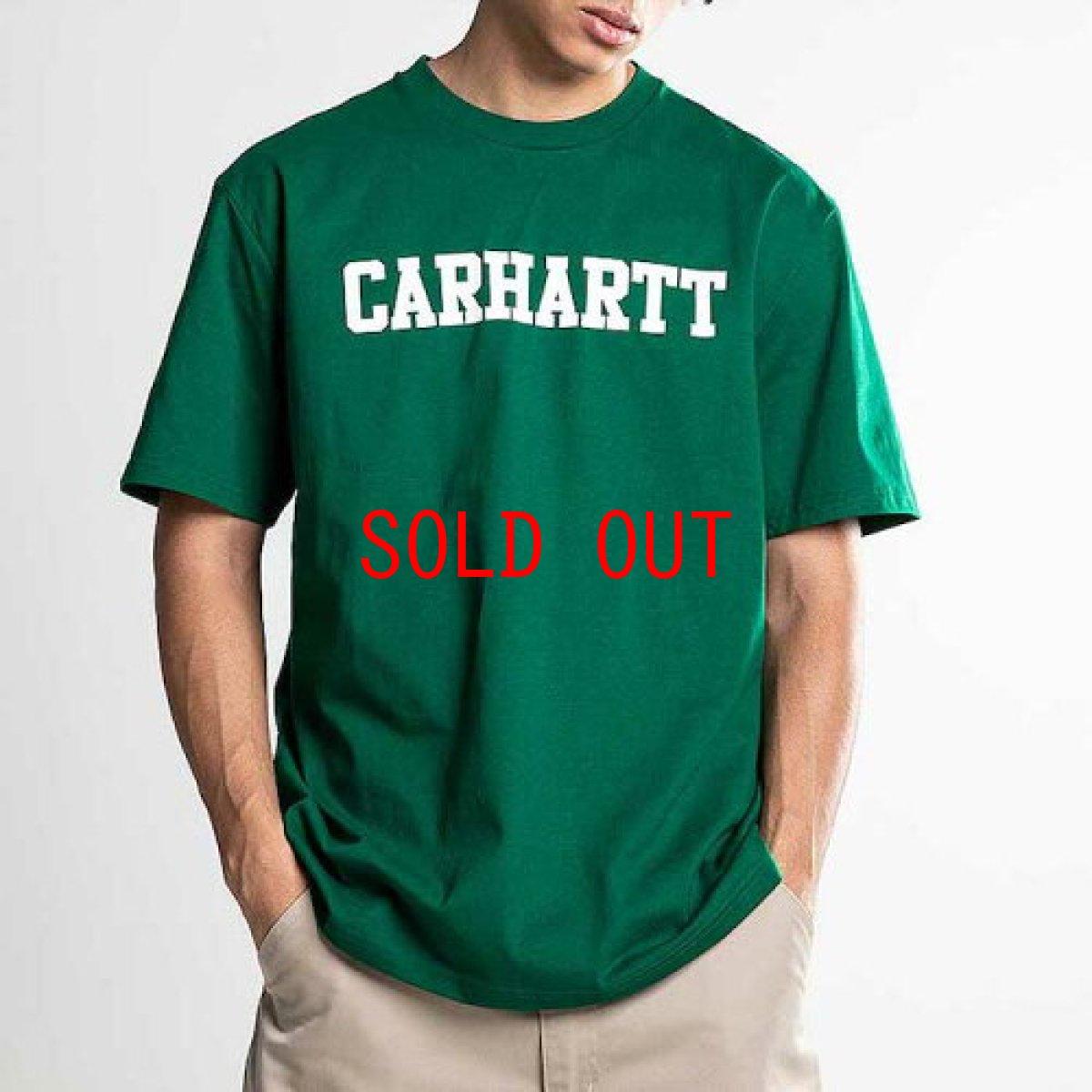 画像1: Carhartt WIP(カーハート ワークインプログレス) College Logo S/S Tee Green カレッジ ロゴ 半袖 Tシャツ (1)