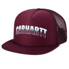 画像2: Carhartt WIP(カーハート ワークインプログレス) District Trucker Logo Cap Black Maroon Mesh Hat ロゴ メッシュ キャップ ハット 帽子 (2)