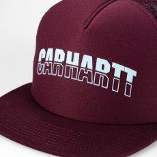 画像4: Carhartt WIP(カーハート ワークインプログレス) District Trucker Logo Cap Black Maroon Mesh Hat ロゴ メッシュ キャップ ハット 帽子 (4)