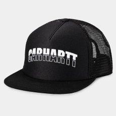 画像1: Carhartt WIP(カーハート ワークインプログレス) District Trucker Logo Cap Black Maroon Mesh Hat ロゴ メッシュ キャップ ハット 帽子 (1)