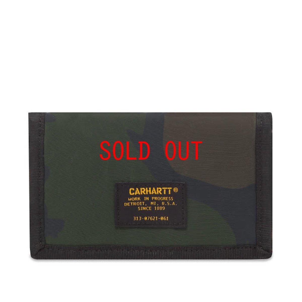 画像1: Carhartt WIP(カーハート ワークインプログレス) Ashtone Wallet Camo Black Woodland Olive Green Orange ブラック カモ 迷彩 折りたたみ 財布 コインポケット カードケース ミリタリーラベル ナイロン 財布 (1)