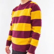 画像7: Carhartt WIP (カーハート ワークインプログレス) Alvin Sweater Stripe Knit Wear Border Maroon Wine Red Yellow ニット ボーダー セーター (7)