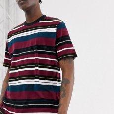 画像1: Flint S/S Multi Color Border Tee T-Shirt Wine Red ロゴ ボーダー 半袖 Tシャツ (1)