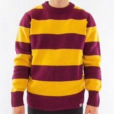 画像2: Carhartt WIP (カーハート ワークインプログレス) Alvin Sweater Stripe Knit Wear Border Maroon Wine Red Yellow ニット ボーダー セーター (2)