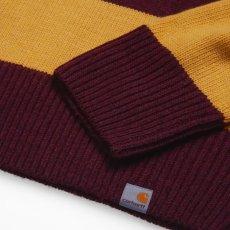 画像4: Carhartt WIP (カーハート ワークインプログレス) Alvin Sweater Stripe Knit Wear Border Maroon Wine Red Yellow ニット ボーダー セーター (4)