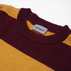 画像3: Carhartt WIP (カーハート ワークインプログレス) Alvin Sweater Stripe Knit Wear Border Maroon Wine Red Yellow ニット ボーダー セーター (3)