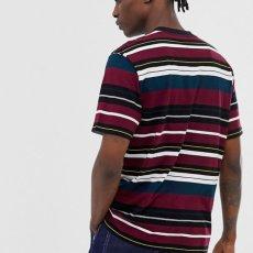 画像4: Flint S/S Multi Color Border Tee T-Shirt Wine Red ロゴ ボーダー 半袖 Tシャツ (4)