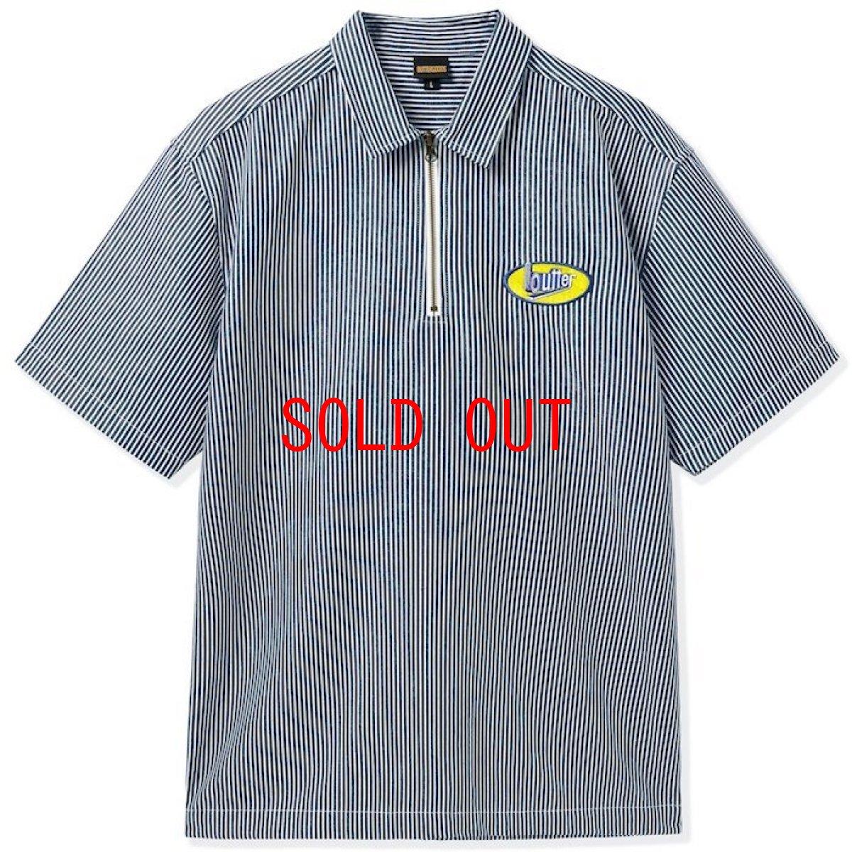 画像1: Butter Goods(バターグッズ)Work S/S Shirts Hickory Stripe Dark Navy 半袖 ワーク シャツ  (1)