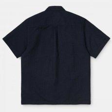 画像3: Carhartt WIP (カーハート ワークインプログレス) S/S Southfield Shirt Dark Navy シアサッカー 半袖 シャツ 4.1oz (3)