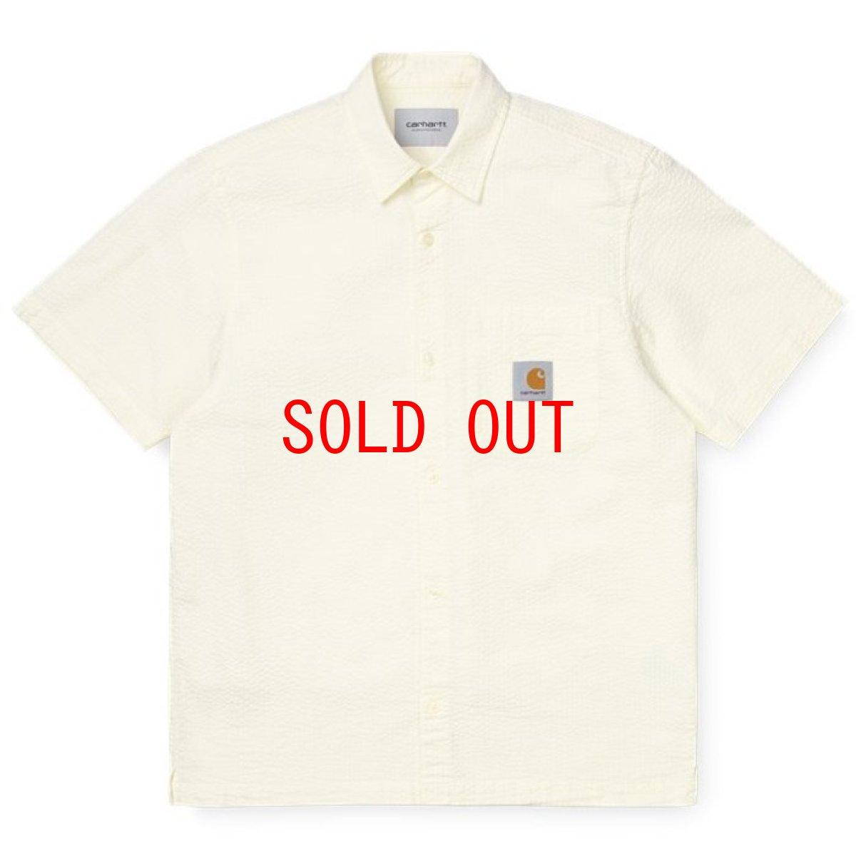 画像1: Carhartt WIP (カーハート ワークインプログレス) S/S Southfield Shirt Wax White Natural シアサッカー 半袖 シャツ 4.1oz (1)