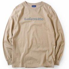 画像1: Lafayette(ラファイエット) Check Logo L/S Tee Sand Beige サンド ベージュ チェック ロゴ 長袖 Tシャツ  (1)