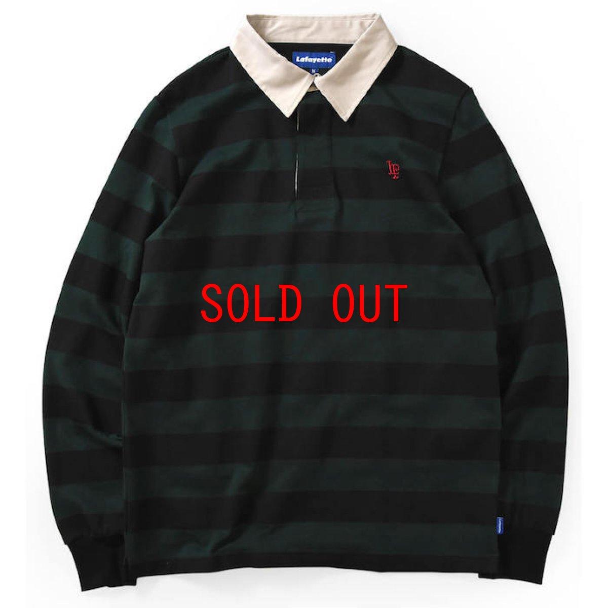画像1: Lafayette(ラファイエット) LF Logo Striped Rugby Shirt ストライプ ボーダー ラガーシャツ ラグビー シャツ Green Black (1)