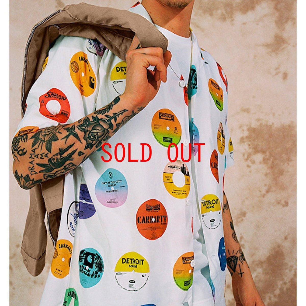 画像1: Record Print S/S Shirt White 半袖 開襟 シャツ  (1)