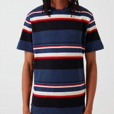画像1: Carhartt WIP (カーハート ワークインプログレス) S/S Sunder Tee Sunder Stripe Blue 半袖 ボーダー Tシャツ  (1)