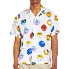 画像5: Record Print S/S Shirt White 半袖 開襟 シャツ  (5)