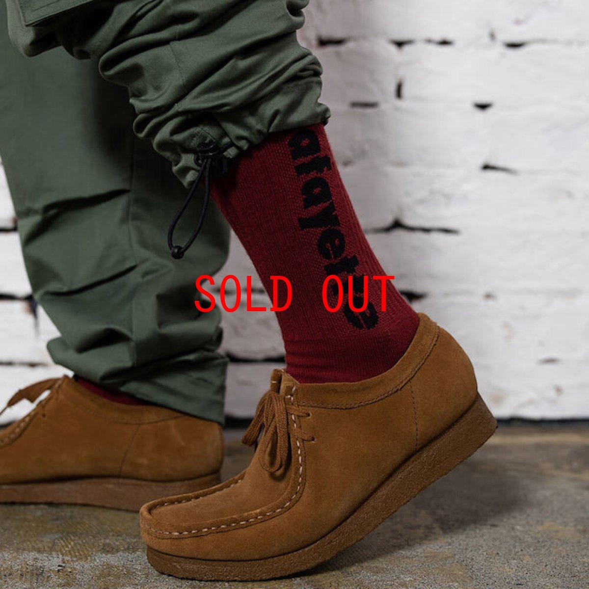 画像1: Logo Socks ソックス 靴下 Burgundy White Black (1)