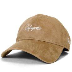 画像1: × New Era Script Logo Synthetic Suede 9thirty Cap スエード キャップ 帽子 ニューエラ by Lafayette ラファイエット  (1)