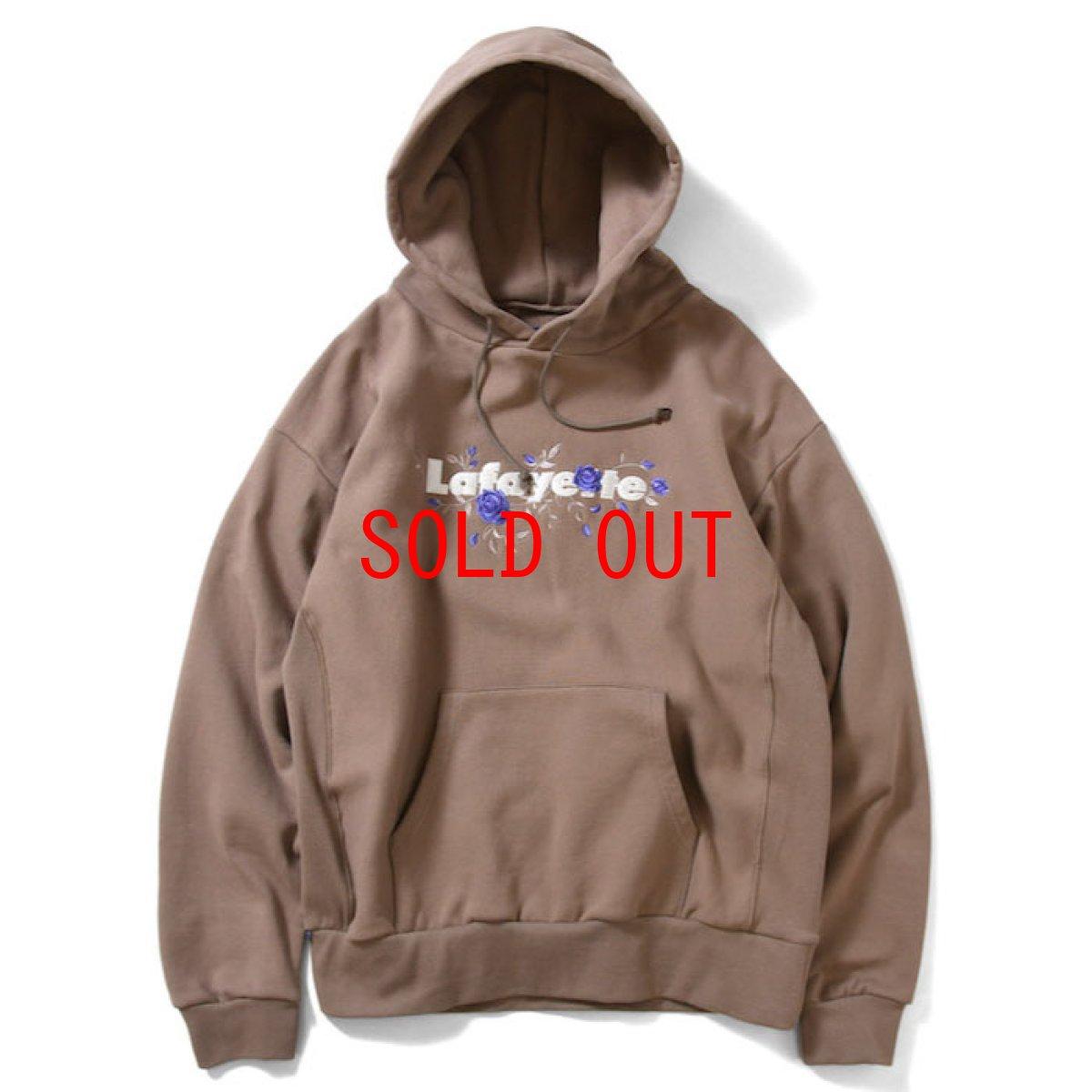 画像1: Rose Logo US Cotton Hooded Sweatshirt ローズ ロゴ プルオーバー スウェット パーカー Sand サンド by Lafayette ラファイエット  (1)