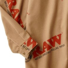 画像4: × Raw Logo Textile Work L/S Shirts Lt Brown ワーク シャツ 長袖 ローリング ペーパー RAWペーパー 総柄 コラボレーション  (4)