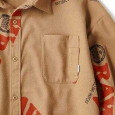 画像6: × Raw Logo Textile Work L/S Shirts Lt Brown ワーク シャツ 長袖 ローリング ペーパー RAWペーパー 総柄 コラボレーション  (6)