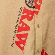 画像7: × Raw Logo Textile Work L/S Shirts Lt Brown ワーク シャツ 長袖 ローリング ペーパー RAWペーパー 総柄 コラボレーション  (7)