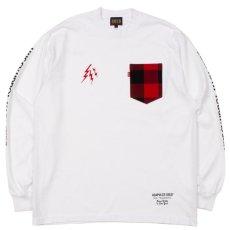 画像1: Lumber Jack Pocket L/S Tee 長袖 ブルックリン ロングスリーブ ランバージャック ポケット フランネル チェック Tシャツ White ホワイト (1)