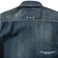 画像8: Washed Denim Shirt デニム シャツ 長袖 Vintage ビンテージ Damage ダメージ Paisley ペイズリー Indigo Blue ブルー by Lafayette ラファイエット  (8)