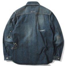 画像2: Washed Denim Shirt デニム シャツ 長袖 Vintage ビンテージ Damage ダメージ Paisley ペイズリー Indigo Blue ブルー by Lafayette ラファイエット  (2)