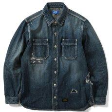 画像1: Washed Denim Shirt デニム シャツ 長袖 Vintage ビンテージ Damage ダメージ Paisley ペイズリー Indigo Blue ブルー by Lafayette ラファイエット  (1)