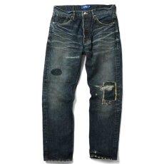 画像2: 5 Pocket Selvage Washed Denim Pants Standard Fit デニム パンツ セルビッジ ダメージ ビンテージ ウォッシュ Blue ブルー by Lafayette ラファイエット  (2)