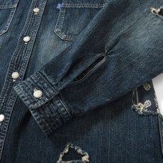 画像5: Washed Denim Shirt デニム シャツ 長袖 Vintage ビンテージ Damage ダメージ Paisley ペイズリー Indigo Blue ブルー by Lafayette ラファイエット  (5)