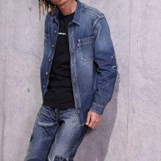 画像11: Washed Denim Shirt デニム シャツ 長袖 Vintage ビンテージ Damage ダメージ Paisley ペイズリー Indigo Blue ブルー by Lafayette ラファイエット  (11)