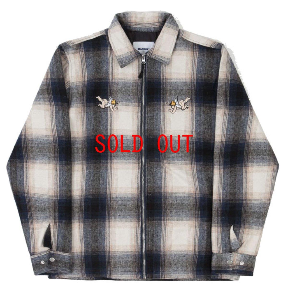 画像1: Angels Heavyweight Plaid Shirts Jacket エンジェル プレイド シャツ ジャケット ジップ Navy Beige ネイビー ベージュ (1)