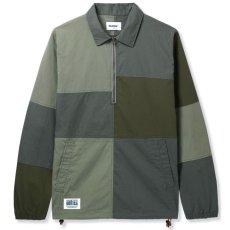 画像1: Patchwork Pullover Shirts Jacket パッチワーク プルオーバー シャツ ジャケット ハーフ ジップ Army Green グリーン (1)