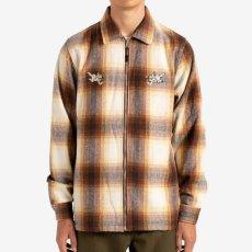 画像1: Angels Heavyweight Plaid Shirts Jacket エンジェル プレイド シャツ ジャケット ジップ Brown Taupe ブラウン (1)