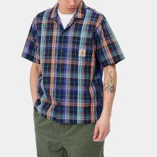 画像8: Vilay Check S/S Shirts オープン カラー チェック柄 半袖 シャツ コットン ポプリン チェスト ポケット Cロゴ スクエア ラベル Dark Navy ネイビー (8)