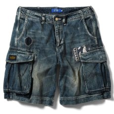 画像2: Washed Denim Shorts デニム ショーツ カーゴ ショート パンツ Vintage ビンテージ Paisley ペイズリー (2)