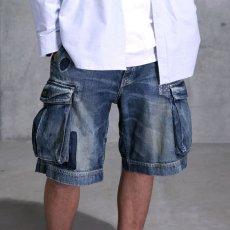 画像1: Washed Denim Shorts デニム ショーツ カーゴ ショート パンツ Vintage ビンテージ Paisley ペイズリー (1)