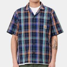 画像4: Vilay Check S/S Shirts オープン カラー チェック柄 半袖 シャツ コットン ポプリン チェスト ポケット Cロゴ スクエア ラベル Dark Navy ネイビー (4)