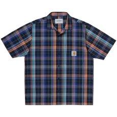 画像2: Vilay Check S/S Shirts オープン カラー チェック柄 半袖 シャツ コットン ポプリン チェスト ポケット Cロゴ スクエア ラベル Dark Navy ネイビー (2)