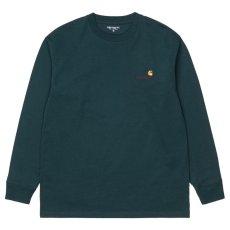 画像1: American Script L/S Tee 長袖 ロゴ Tシャツ Deep Lagoon Green グリーン (1)