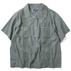 画像2: Rose Cuban S/S Shirt 半袖 キューバ シャツ embroidery 刺繍 ローズ Olive Green (2)
