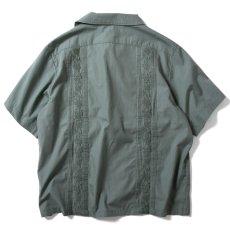 画像3: Rose Cuban S/S Shirt 半袖 キューバ シャツ embroidery 刺繍 ローズ Olive Green (3)